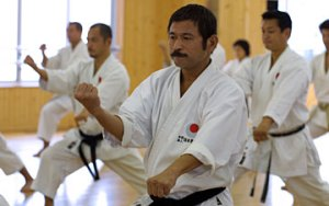 Instructors in the JKA honbu dojo in Tokyo performing the kata Jion (photo from www.jka.or.jp)